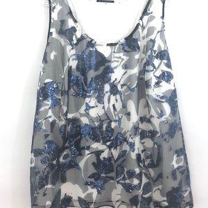 Ellie Tahari Sequin Tank Top Blue White 3X